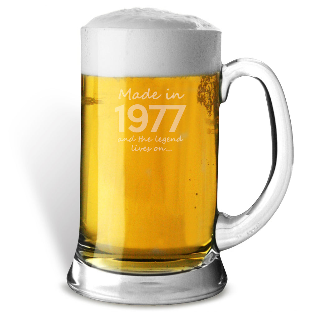 Made In 1977 and The Legend Lives On Glass Tankard