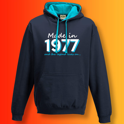 Made In 1977 and The Legend Lives On Unisex Contrast Hoodie