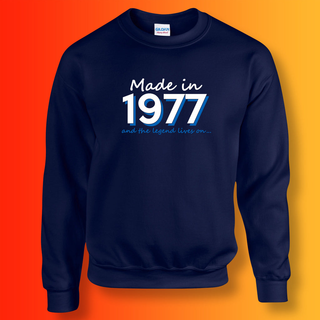 Made In 1977 and The Legend Lives On Sweater Navy