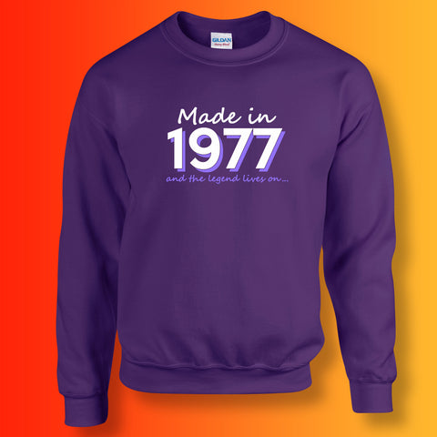 Made In 1977 and The Legend Lives On Sweater Purple