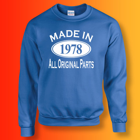 Made In 1978 All Original Parts Sweater Royal Blue