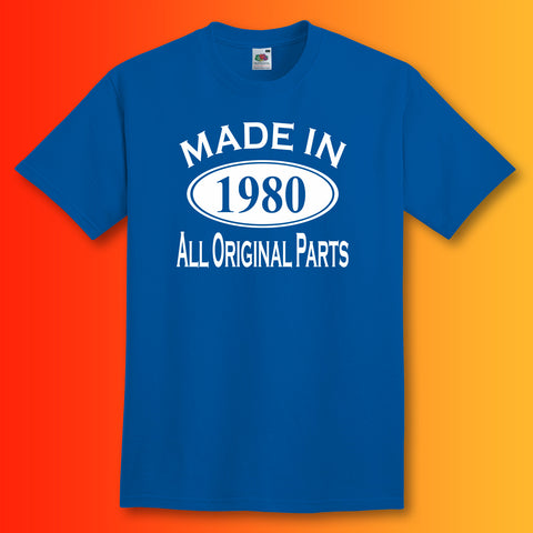 Made In 1980 T-Shirt Royal Blue