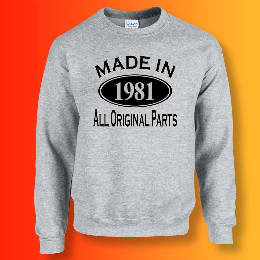 Made In 1981 All Original Parts Sweater Heather Grey