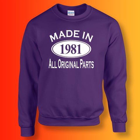 Made In 1981 All Original Parts Sweater Purple