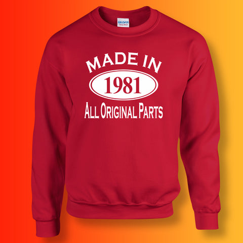 Made In 1981 All Original Parts Sweater Red