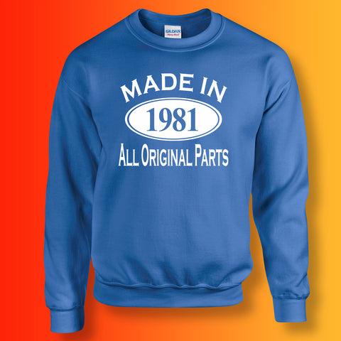 Made In 1981 All Original Parts Sweater Royal Blue