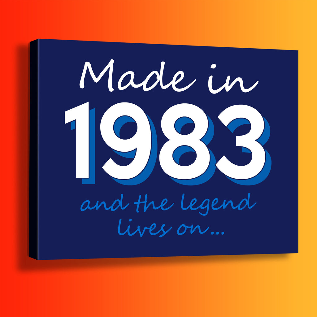 Made In 1983 and The Legend Lives On Canvas Print Navy