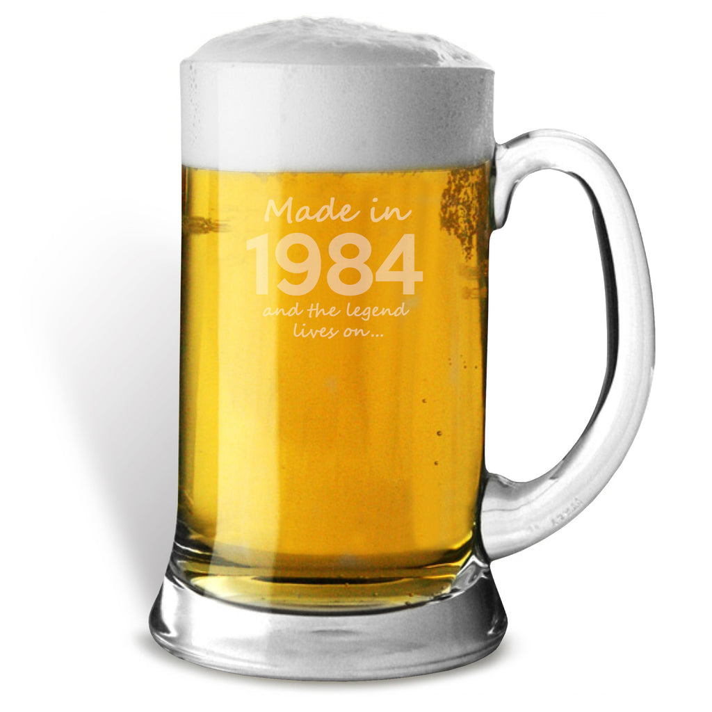 Made In 1984 and The Legend Lives On Glass Tankard