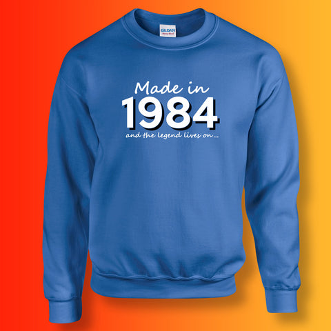 Made In 1984 and The Legend Lives On Sweater Royal Blue