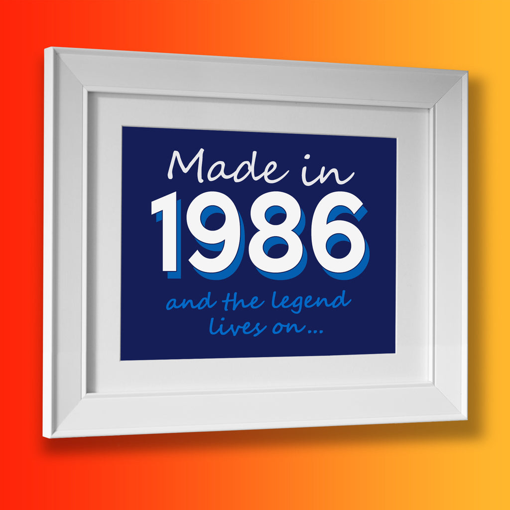 Made In 1986 and The Legend Lives On Framed Print Navy