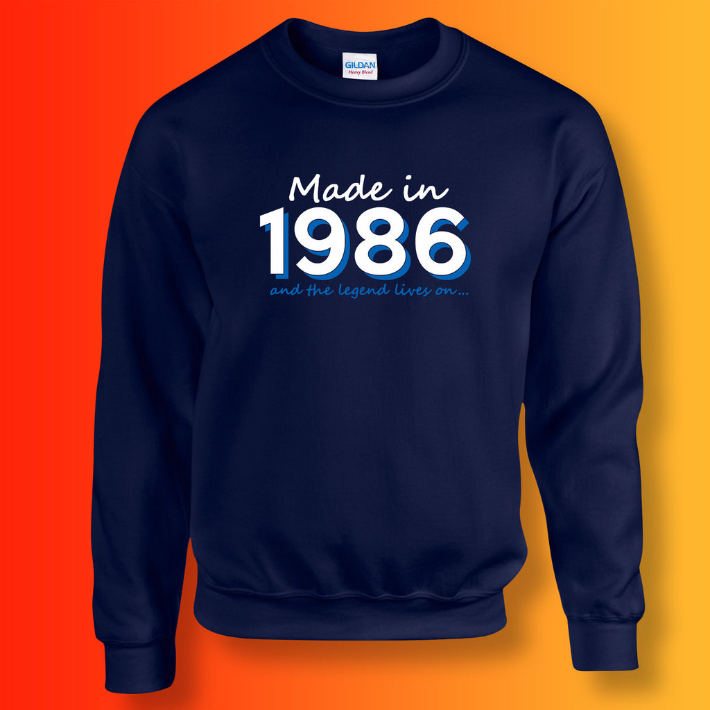 Made In 1986 and The Legend Lives On Sweater Navy