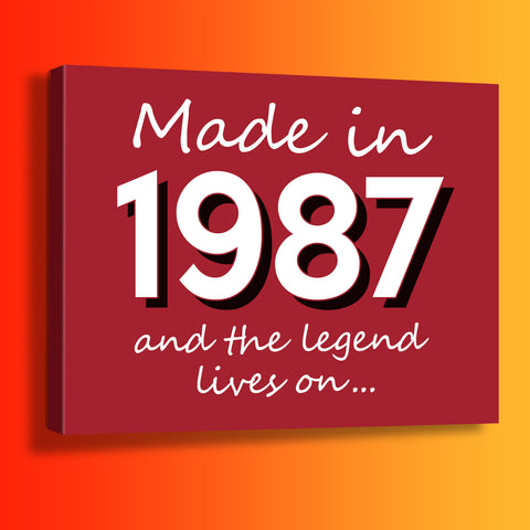 Made In 1987 and The Legend Lives On Canvas Print Brick Red