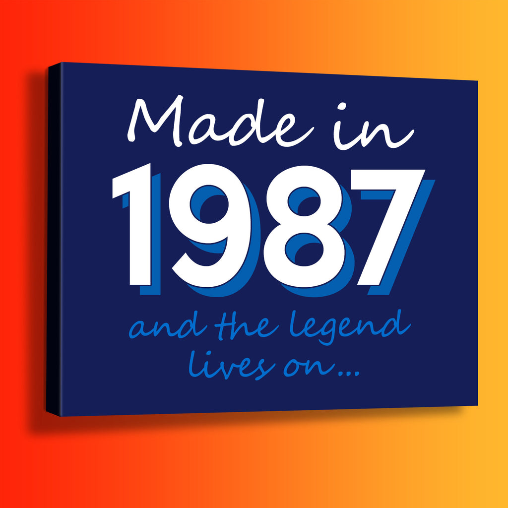 Made In 1987 and The Legend Lives On Canvas Print Navy