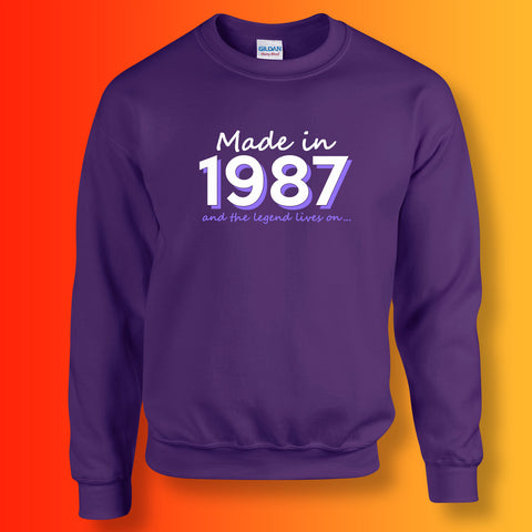 Made In 1987 and The Legend Lives On Sweater Purple