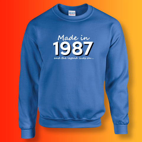 Made In 1987 and The Legend Lives On Sweater Royal Blue