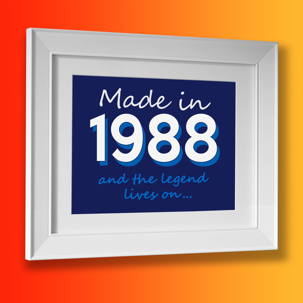 Made In 1988 and The Legend Lives On Framed Print Navy