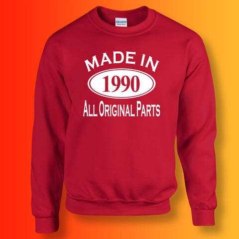 Made In 1990 All Original Parts Sweater Red