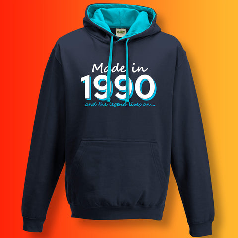 Made In 1990 and The Legend Lives On Unisex Contrast Hoodie