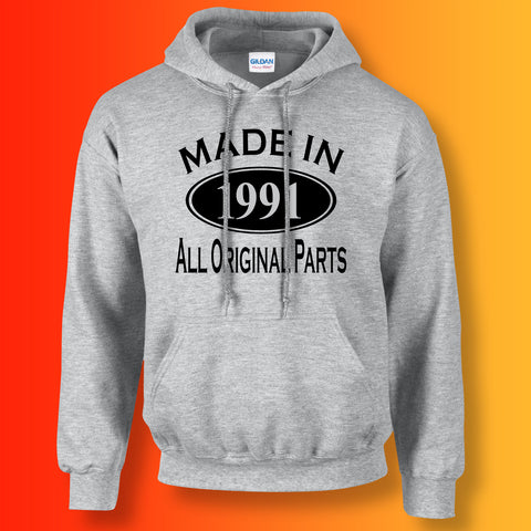 Made In 1991 Hoodie Heather Grey