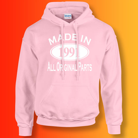 Made In 1991 Hoodie Light Pink