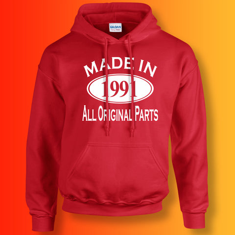 Made In 1991 Hoodie Red