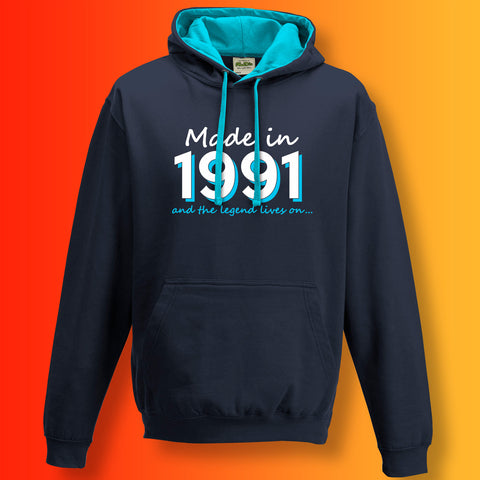 Made In 1991 and The Legend Lives On Unisex Contrast Hoodie
