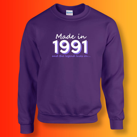 Made In 1991 and The Legend Lives On Sweater Purple
