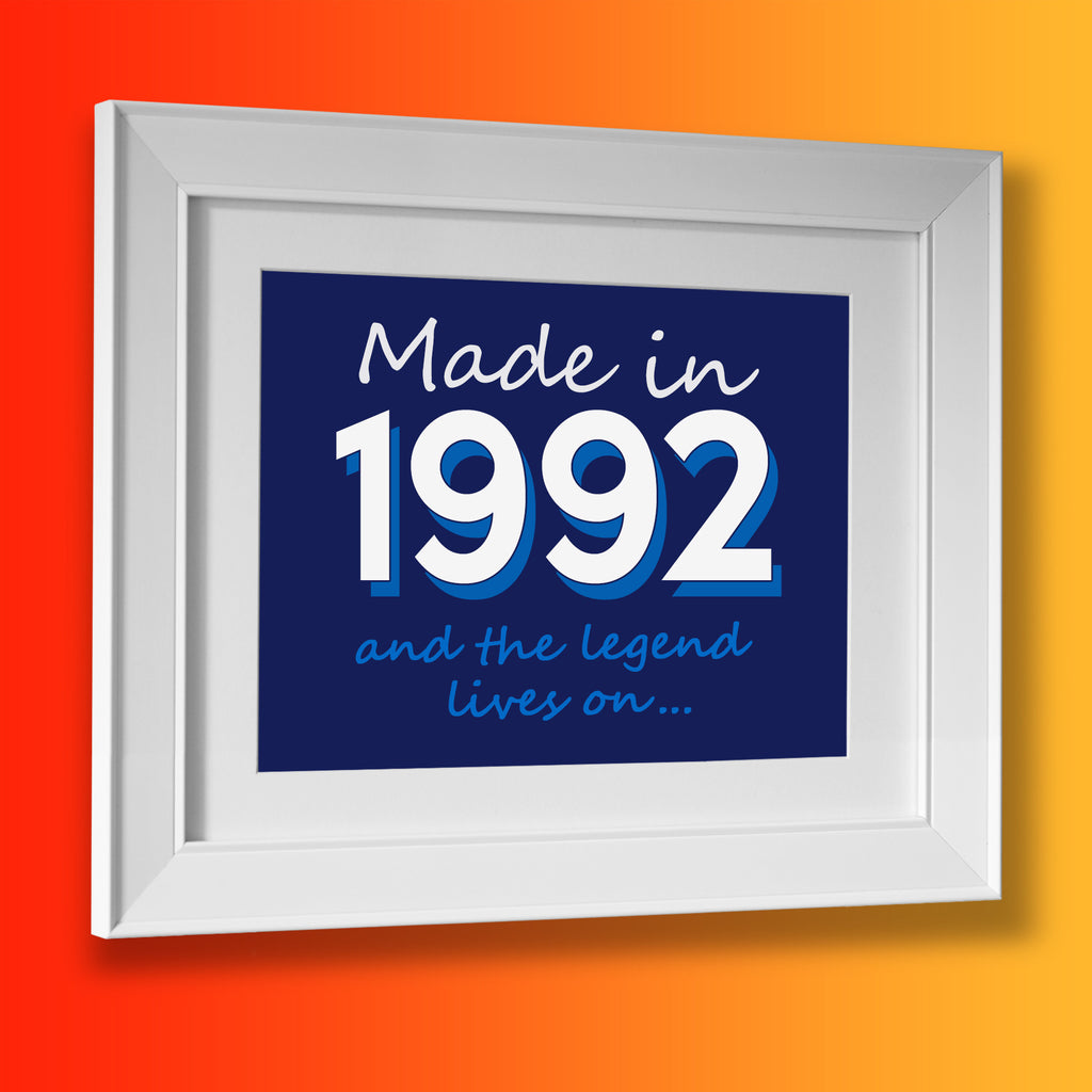 Made In 1992 and The Legend Lives On Framed Print Navy