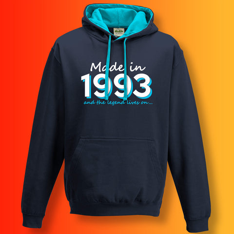 Made In 1993 and The Legend Lives On Unisex Contrast Hoodie