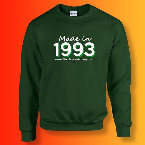 Made In 1993 and The Legend Lives On Sweater Bottle Green