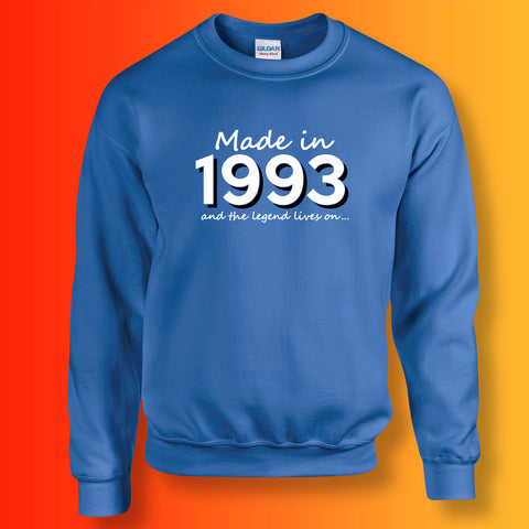 Made In 1993 and The Legend Lives On Sweater Royal Blue