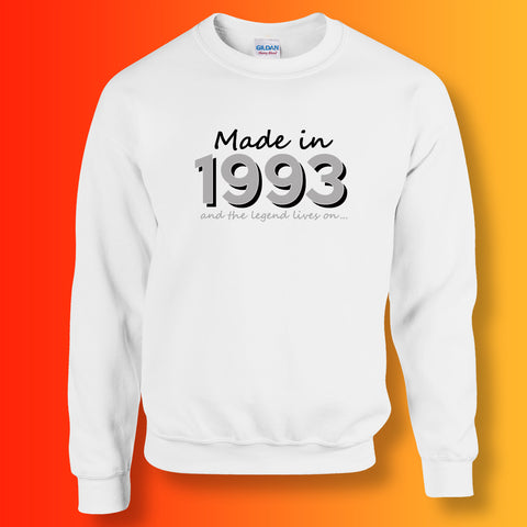 Made In 1993 and The Legend Lives On Sweater White