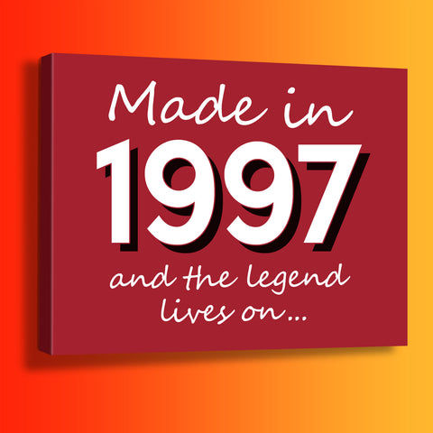 Made In 1997 and The Legend Lives On Canvas Print Brick Red