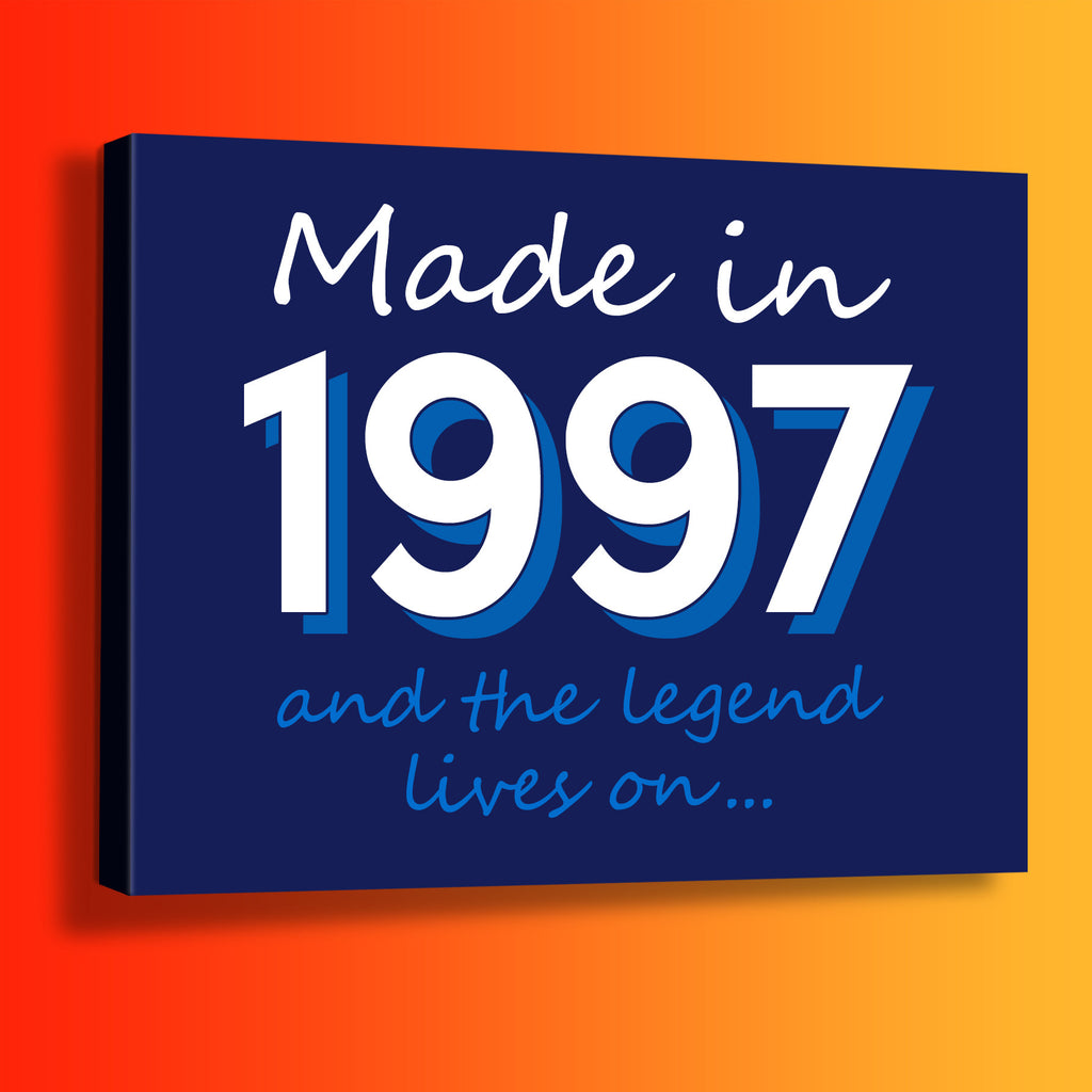 Made In 1997 and The Legend Lives On Canvas Print Navy