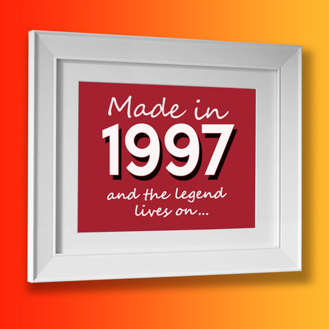 Made In 1997 and The Legend Lives On Framed Print Brick Red