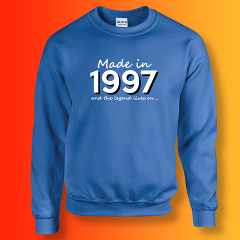 Made In 1997 and The Legend Lives On Sweater Royal Blue