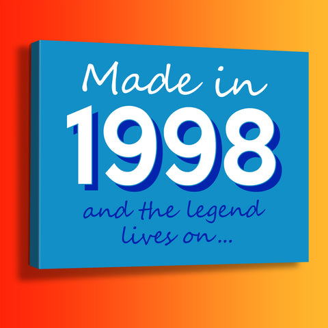 Made In 1998 and The Legend Lives On Canvas Print Azure
