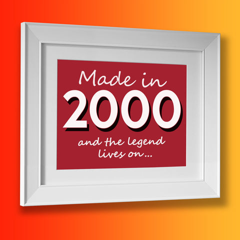 Made In 2000 and The Legend Lives On Framed Print Brick Red