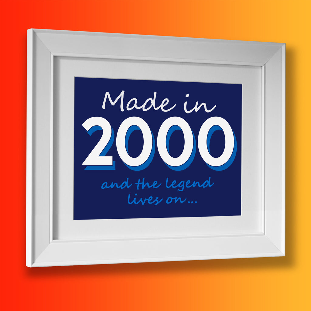Made In 2000 and The Legend Lives On Framed Print Navy