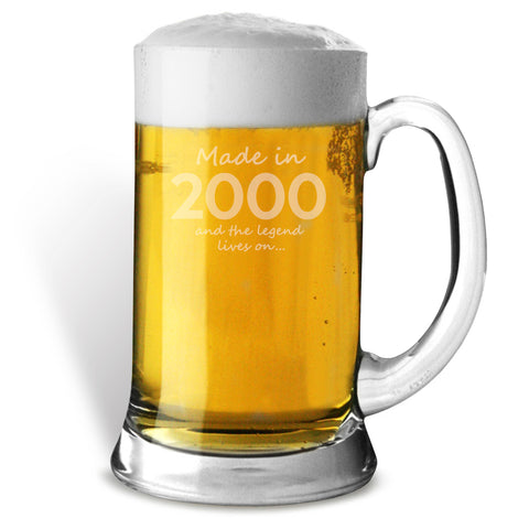 Made In 2000 and The Legend Lives On Glass Tankard