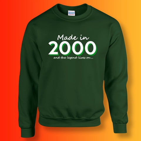 Made In 2000 and The Legend Lives On Sweater Bottle Green