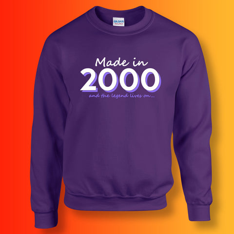 Made In 2000 and The Legend Lives On Sweater Purple