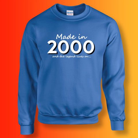 Made In 2000 and The Legend Lives On Sweater Royal Blue