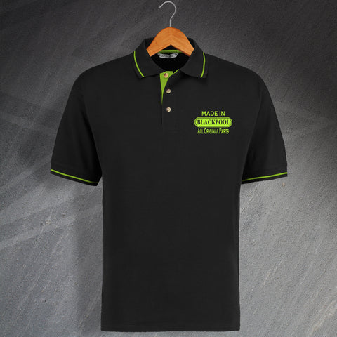 Made In Blackpool All Original Parts Unisex Embroidered Contrast Polo Shirt
