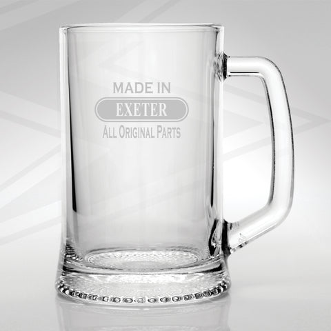 Exeter Glass Tankard Engraved Made in Exeter All Original Parts