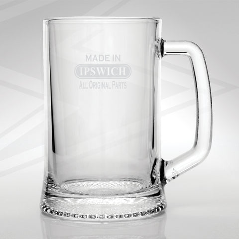 Ipswich Glass Tankard Engraved Made in Ipswich All Original Parts