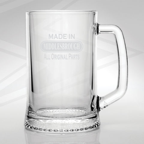 Middlesbrough Glass Tankard Engraved Made in Middlesbrough All Original Parts