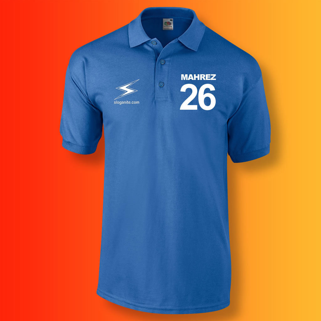 Sloganite Mahrez Number 26 Polo Shirt Blue