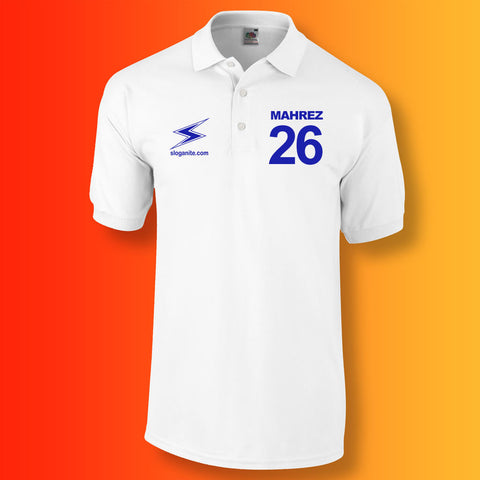 Sloganite Mahrez Number 26 Polo Shirt White