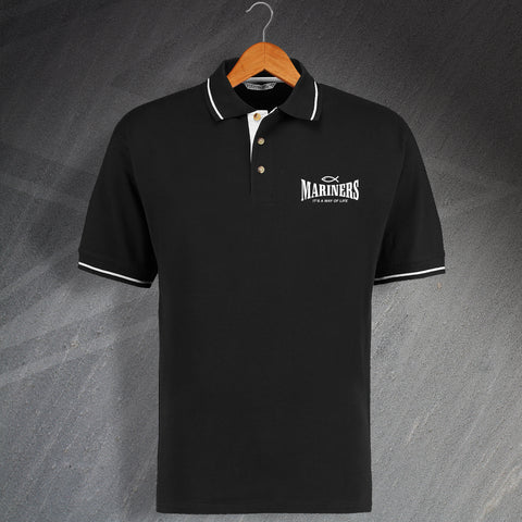 Grimsby Football Polo Shirt Embroidered Contrast Mariners It's a Way of Life